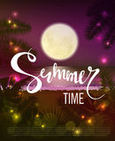 Summer time. Beautiful tropical background. The night sky, the ocean, big moon and stars. Vector illustration eps 10 Royalty Free Stock Image