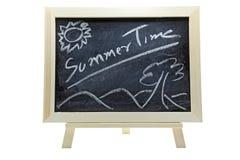 Summer time on blackboard Royalty Free Stock Photos