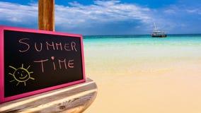 Summer time blackboard Stock Photos