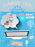 Summer time blue infographic, with book now text, computer and travel accessories Royalty Free Stock Images