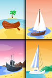 Summer time boat vacation nature tropical beach landscape of paradise island holidays lagoon vector illustration. Stock Image