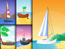 Summer time boat vacation nature tropical beach landscape of paradise island holidays lagoon vector illustration. Royalty Free Stock Photo