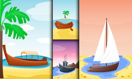 Summer time boat vacation nature tropical beach landscape of paradise island holidays lagoon vector illustration. Stock Photos