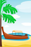 Summer time boat vacation nature tropical beach landscape of paradise island holidays lagoon vector illustration. Royalty Free Stock Photos