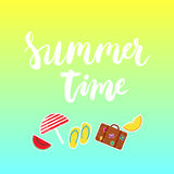 Summer time brush hand painted lettering phrase with colorful watermelon, melon, step-ins, parasol, suitcase icons. Stock Image
