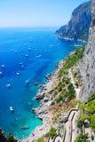 Summer time in Capri island. Lots of yachts near Capri island, Italy stock photos