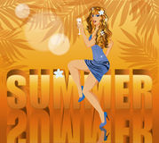 Summer time card with beautiful sexy woman Stock Photos