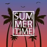 Summer time - card with palm trees, gull and frame. Background for banner, poster,  postcard, cover, brochure. Vector. Royalty Free Stock Photo