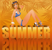 Summer time card with sexy girl in bikini Royalty Free Stock Photography