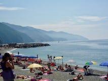 Beach scene at Monterosso in Cinque Terra stock photography