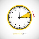 Summer time clock daylight saving time with red arrow vector illustration