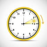 Summer time clock daylight saving time with red and sun stock illustration
