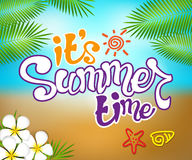 Summer Time Colorful Design with Hand Drawing Vector Elements Royalty Free Stock Photos