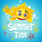 Summer Time Colorful Design with Happy Sun Vector Character Stock Photos