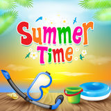 Summer Time Colorful Design with Snorkel Vector Elements Royalty Free Stock Photos