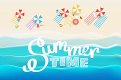 Summer time concept. Sandy beach with different accessories. Vec Stock Illustration