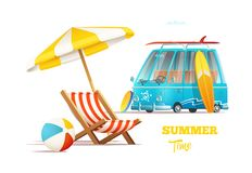 Summer time concept. Surfers van and lounger with umbrella. On tropical biach Stock Image