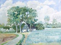 Summer time cottage landscape Royalty Free Stock Images
