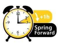 Daylight saving time. Spring forward alarm clock icon. Stock Photos