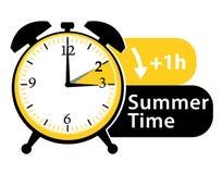 Summer time. Daylight saving time. Spring forward alarm clock icon. Royalty Free Stock Photos