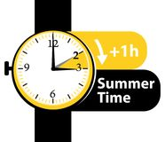 Summer time. Daylight saving time. Spring forward watch icon. Stock Image