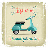 Summer time design with vintage scooter Stock Image