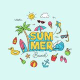 Summer time doodle art with beach holiday object illustration. Full colored creative hand drawing design. Summer 3d lettering with beach element illustration Royalty Free Stock Images