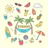 Summer time doodle art with beach holiday object illustration. Full colored creative hand drawing design. stock illustration