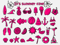 Summer Time Doodle Icon Set Royalty Free Stock Photo