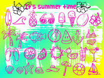 Summer time doodle icon set Royalty Free Stock Photography