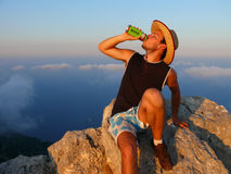 Summer time, drinking beer at Punta Giradili Royalty Free Stock Image