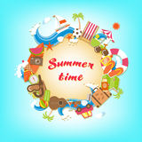 Summer time elements banner. Summer time sandy circle banner surrounded with colorful beach elements and accessories Royalty Free Stock Images