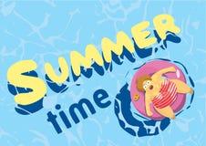 Summer time. fat woman on mattress swim. Vector illustration. Stock Photos