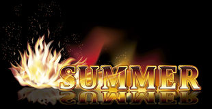 Summer time fire banner, vector Royalty Free Stock Photo