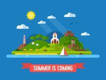 Summer Time Flat Design Island Landscape Royalty Free Stock Images