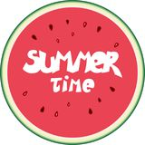 Summer time vector watermelon illustraction. Summer time flat watermelon with hand lettering vector illustraction Vector Illustration