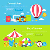 Summer Time Flat Website Banners Set. Summertime Flat Website Banners Set. Vector Illustration for Website banner and landing page. Summer Travel and Vacation Royalty Free Stock Photography