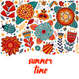 Summer time floral card design, summer time flowers and leaf doodle elements. Illustration made of flowers and herbs. Vector decor Stock Photo
