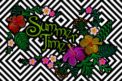Summer time flower embroidery patch on geometric stripe seamless background. Stitch textile print floral arrangement Royalty Free Stock Photography