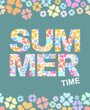 Summer time graphic illustration with flowers. Vector background Stock Photography