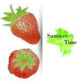 Summer time greeting card, watercolor strawberries Stock Photo