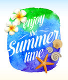 Summer time greeting with Tropical flowers Stock Images