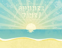 Summer Time. Summer grunge textured background with Summer Time banner Stock Photos
