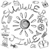 Summer Time. Hand Drawings of Summer Symbols and Sun. Royalty Free Stock Photo