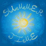 Summer Time. Hand Drawings of Summer Symbols and Yellow Sun on Blue. Royalty Free Stock Photo