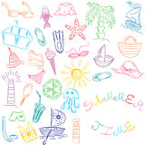 Summer Time. Hand Drawings of Summer Vacancies Symbols. Colorful Doodle Boats, Ice cream, Palms, Hat, Umbrella, Jellyfish, Cocktai Stock Image
