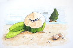 Summer time hand drawn illustration. With coconut and sand beach royalty free illustration