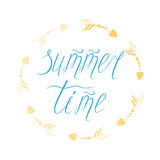 Summer time hand drawn lettering element into circle frame Stock Photo