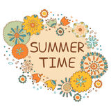 Summer time hand drawn lettering with flowers Stock Photo