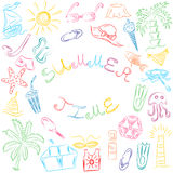 Summer Time. Hand Drawn Summer Vacancies Symbols. Colorful Doodle Boats, Ice cream, Palms, Hat, Umbrella, Jellyfish, Cocktail, Sun Royalty Free Stock Photography